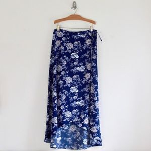 Blue & Pink Floral High Low Maxi Wrap Skirt